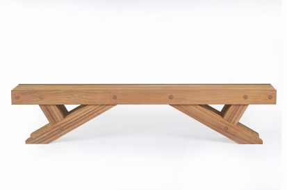 Contemporary Furniture - The Whitehill garden bench in Iroko - Charlie Caffyn Furniture