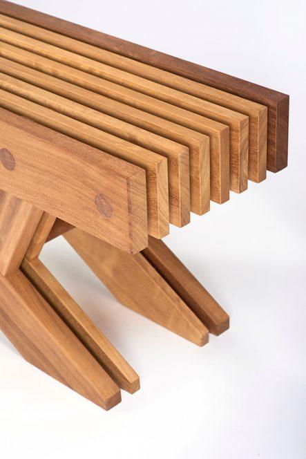 Contemporary Furniture - The Whitehill garden bench in Iroko - Charlie Caffyn Furniture