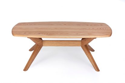 The Chantry Coffee table handmade oval coffee table in oak by Charlie Caffyn modern british furniture designer maker