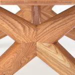 A detail from The Chantry Coffee table handmade oval coffee table in oak by Charlie Caffyn modern british furniture designer maker