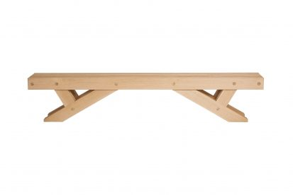 The Whitehill garden bench in Iroko - Contemporary Furniture - Charlie Caffyn Furniture
