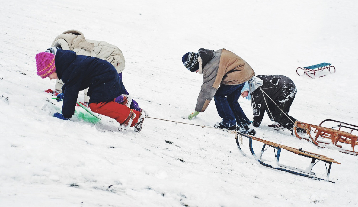 Children climbing a hill with their best wooden sledges